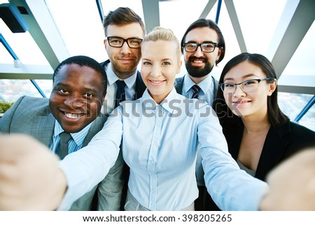 Selfie of business group - stock photo