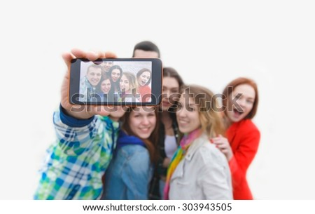 selfie of friends isolated - stock photo