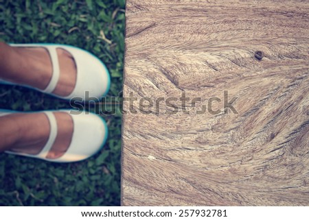 Selfie of shoes with table