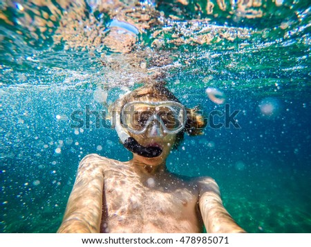 selfie underwater at seaside
