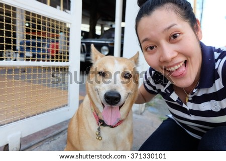 selfie with dog - stock photo