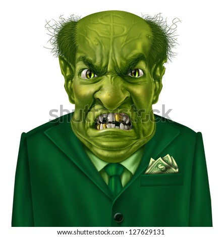 Selfish greed as a green business boss character with a suit and dollar sign on his forehead representing the concept of selfishness and greedy financial behavior. - stock photo