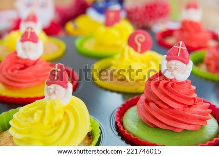 Selfmade Dutch Sinterklaas cupcakes - stock photo