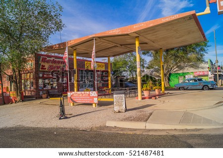 Seligman,Arizona,USA, October 25,2015: Views of the route 66 decorations in the city of Seligman in Arizona.