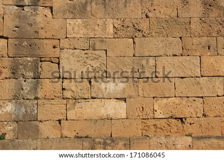 Selinunte fortified walls ancient Greek city trapani sicily - stock photo
