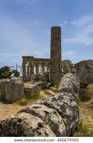 Seliunte, Italy - July 23, 2016: Seliunte was an ancient Greek city - Approx. 250 BCE - on the south-western coast of Sicily in Italy. Only  the Temple of Hera has been re-erected.