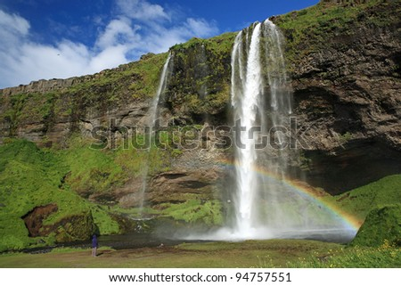 Seljalandsfoss Waterfall in Iceland - stock photo