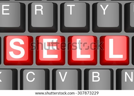 Sell button on modern computer keyboard image with hi-res rendered artwork that could be used for any graphic design.