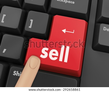 sell message on keyboard, to sell something or sell concept for stock market.