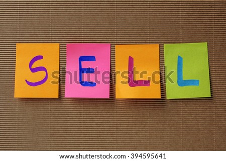 sell text on colorful sticky notes