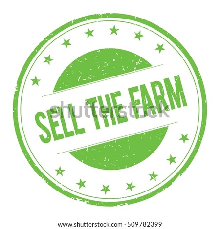 SELL-THE-FARM stamp sign text word logo green.