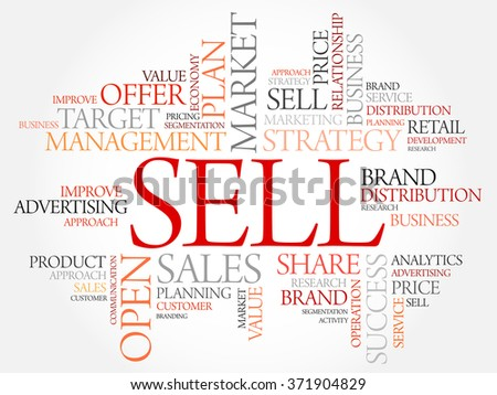 Sell word cloud, business concept - stock photo