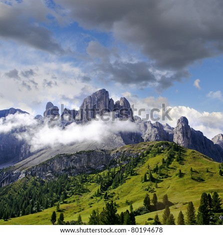 Sella Group from Passo Gardena, Dolomiti mountain - Italy Europe, UNESCO World Heritage Site - stock photo