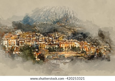 Sella village, old village in Spain. Alicante province. Digital watercolor painting - stock photo