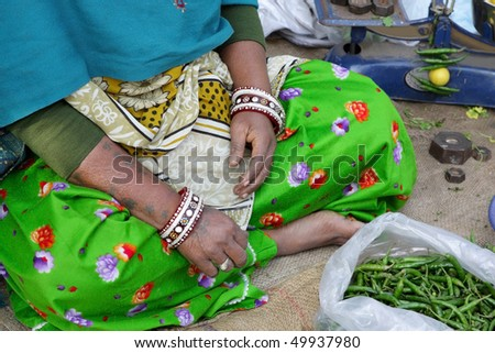 Selling peas - stock photo