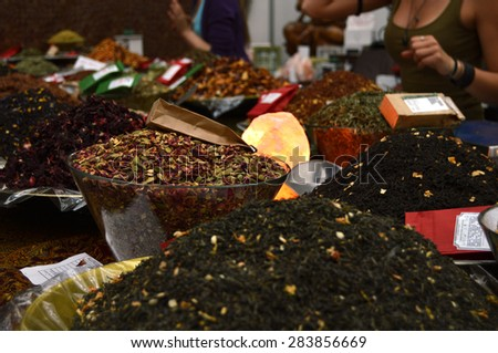 selling spices - stock photo
