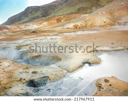 Seltun is a geothermal region with fumaroles and solfatara on reykjanes peninsula in the area of reykjavik, iceland - stock photo