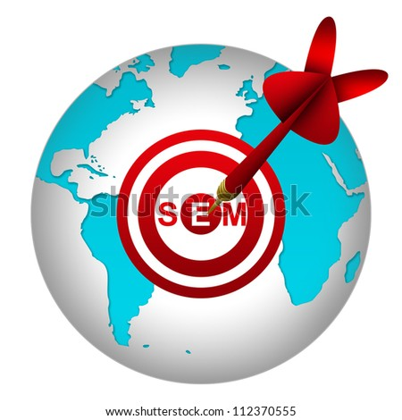 SEM Concept Present By Dart Hitting A SEM( Search Engine Marketing ) Target on Globe Isolated On White Background - stock photo