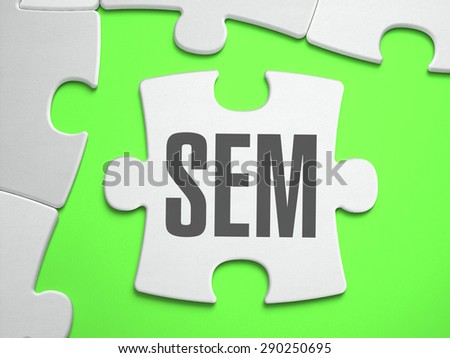 SEM - Search Engines Marketing - Jigsaw Puzzle with Missing Pieces. Bright Green Background. Close-up. 3d Illustration. - stock photo