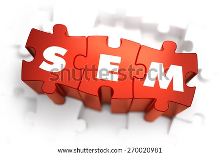SEM - Text on Red Puzzles with White Background. 3D Render.  - stock photo