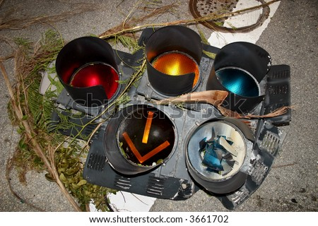 Semaphore - A broken traffic light. - stock photo