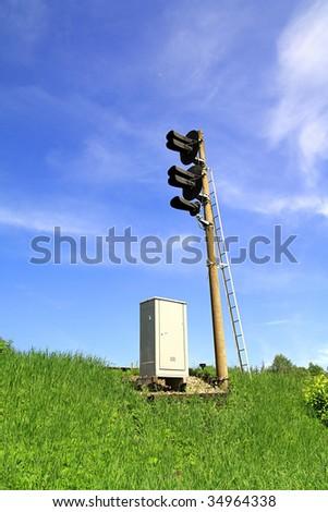 semaphore on railway - stock photo