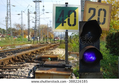 semaphore on the rail road - stock photo