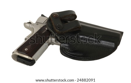 Semi Auto pistol in holster - stock photo
