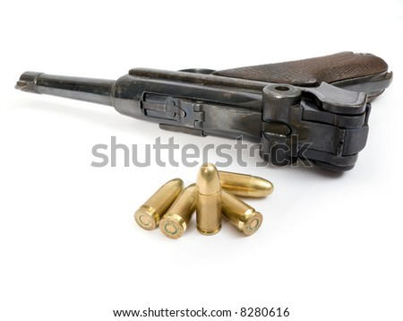 Semi-automatic gun Luger of the II world war - stock photo