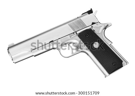 Semi-automatic handgun isolated on a white background. Studio shot, .45 pistol. - stock photo