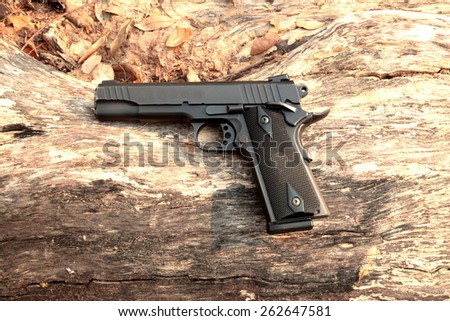 semi Automatic handgun on log - stock photo
