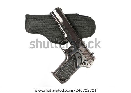 Semi-automatic 9mm gun isolated on white background. - stock photo