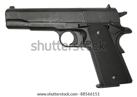 Semi-automatic pistol isolated on a white background. - stock photo