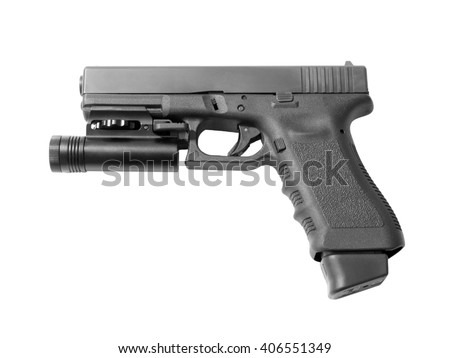 Semi-automatic pistol ready to shoot with torch and high capacity magazine. Handgun for home defense. Isolated on white background. - stock photo
