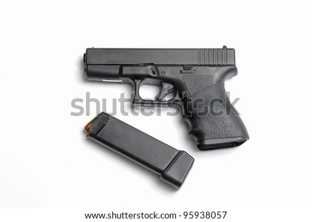 Semi automatic pistol with magazine and ammo - stock photo