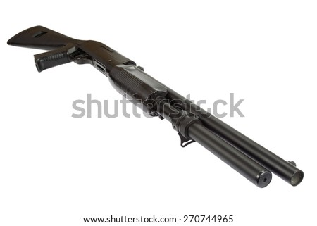 semi-automatic pump action shotgun isolated on white - stock photo