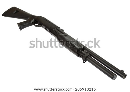 semi-automatic pump action shotgun isolated on white - stock photo