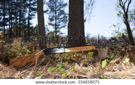 Semi automatic rifle in the forest with trees and sky - stock photo