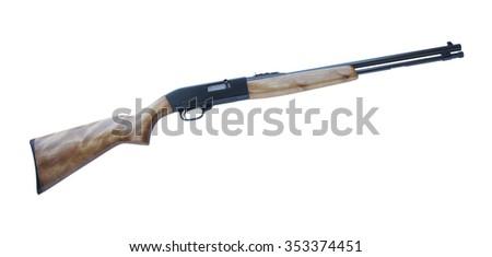 Semi automatic rifle that shoots twenty two on a white background - stock photo