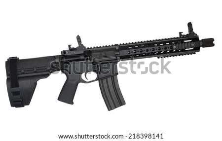 Semi automatic rifle with a barrel and stock in handgun configuration - stock photo