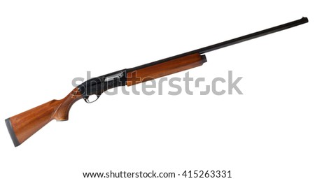 Semi automatic shotgun with a wood stock isolated on white - stock photo