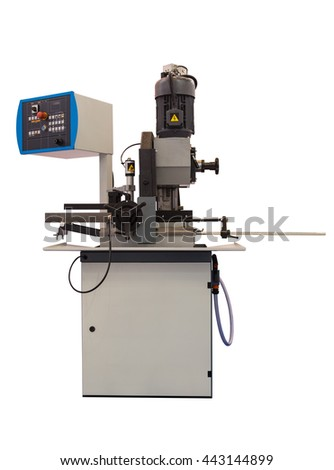 Semi-automatic vertical sawing machine isolated on white background - stock photo