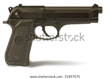 semi-autos gun  isolated on white. clipping path inside