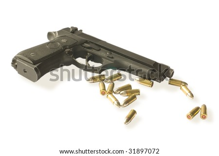 semi-autos gun with fourteen bullets caliber 9mm isolated on white. clipping path inside - stock photo