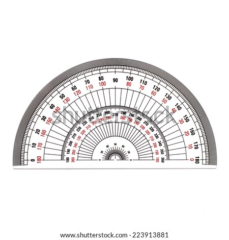 Semi-Circle protractor isolated on white background - stock photo