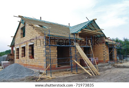 semi-constructed cottage - stock photo