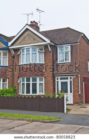 Semi detached house in an urban area - stock photo
