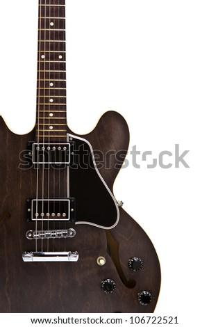 Semi hollow guitar, model gibson ES 335 on isolated white