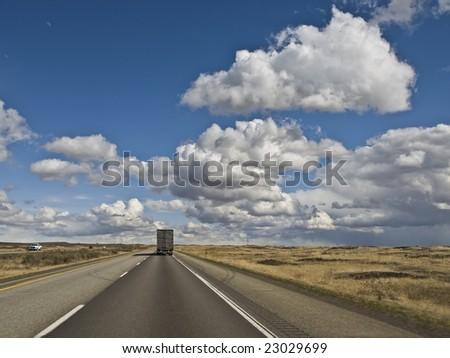 Semi on Idaho Interstate - stock photo