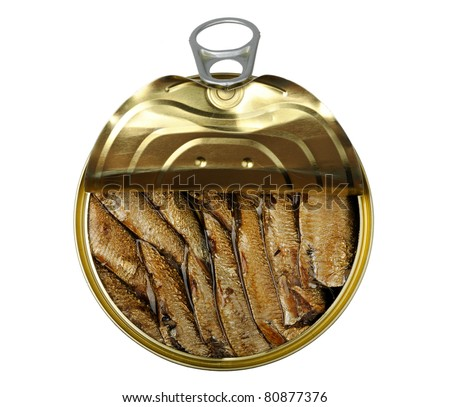 semi open a tin of sprats is isolated on a white background - stock photo